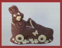 Bio-Schokoladenfigur Hase im Rollschuh