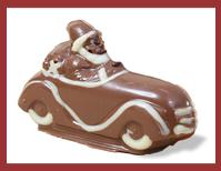 Bio-Schokoladenfigur Weihnachtsmann mit Auto